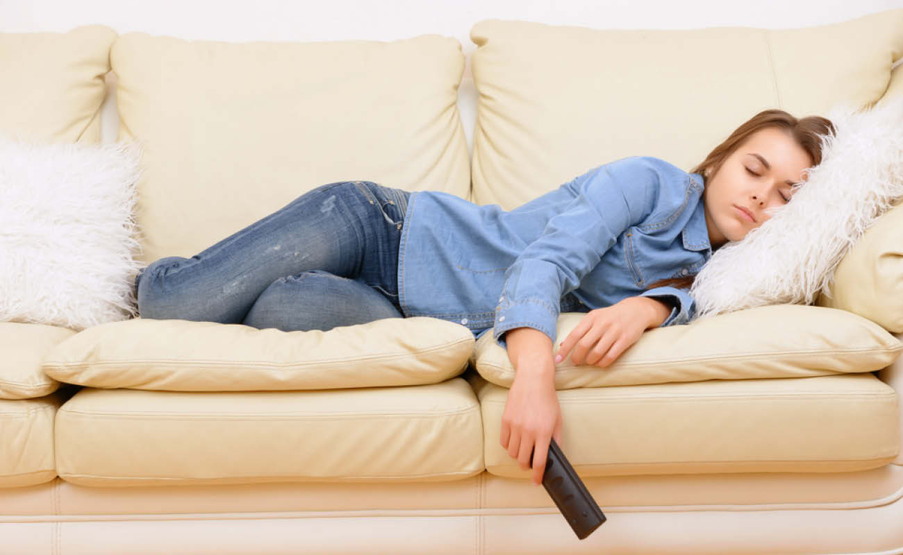 Women sleeping on the couch