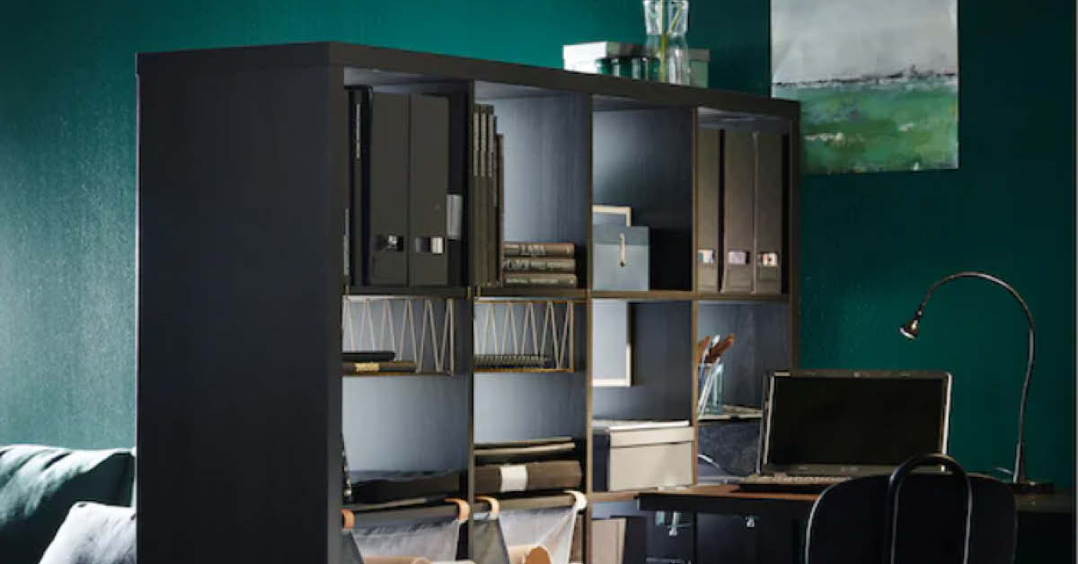 Dark green home office or study