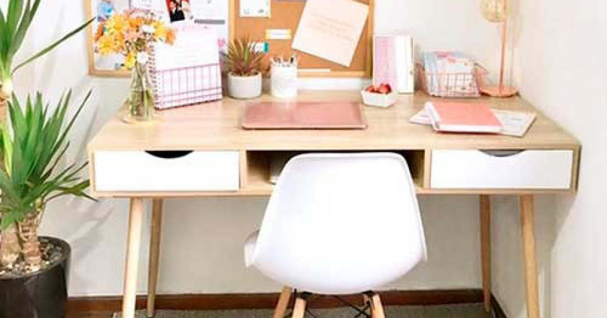 White and bright home office