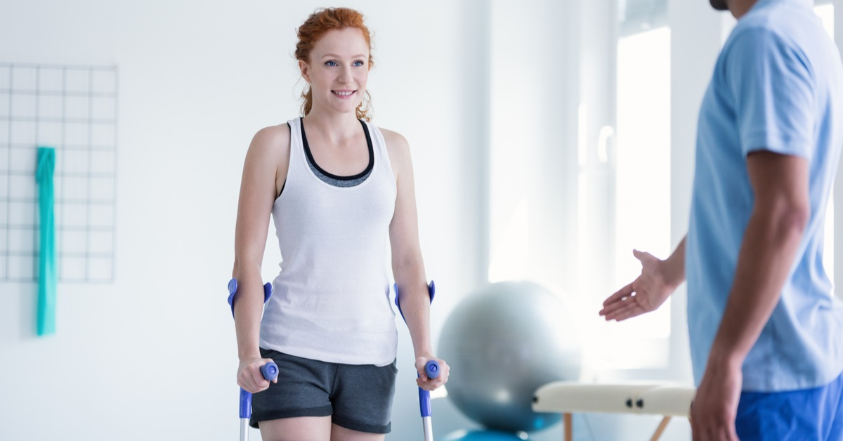 Patient rehabilitation with crutches