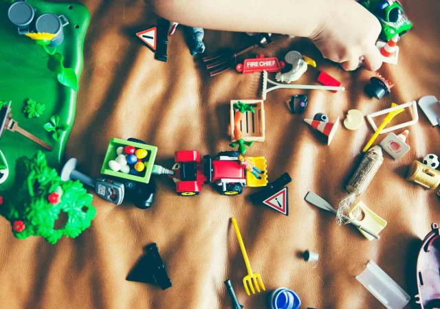 childcare toys scattered around